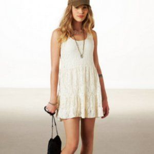 American Eagle Cream Lace Tiered Babydoll Dress